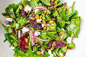 Dandelion Greens and Blood Orange Salad by Cooks and Kid