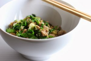Minced Pork with Garlic and Mustard Greens by Fake Food Free
