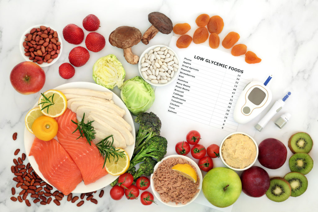 Low glycemic food for diabetics with blood sugar testing equipment & lancing device
